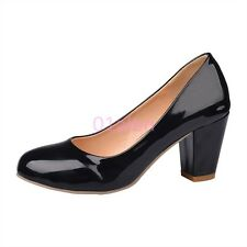 Ladies Women Office Career Mid Thick Heel Sweet Pumps Classic Shoes Plus SIZE