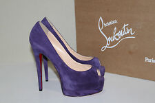 New 8.5 / 38.5 Christian Louboutin Palais Royal Purple Suede Platform Pump Shoes