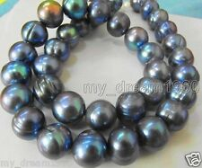 GENUINE 10MM NATURAL SOUTH SEA GENUINE MIX BLACK BAROQUE PEARL LOOSE BEADS