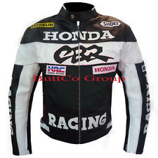 Honda CBR Black Leather Motorcycle Armour Biker Racing Jacket. Free UK Ship