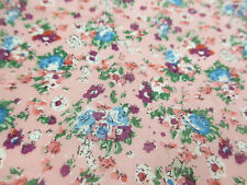 "Pink ""Tea Party"" Summer Floral Printed 100% Cotton LAWN/VOILE Fabric"