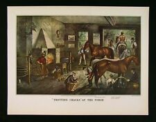 Currier & Ives Print - Trotting Cracks at the Forge - Horse Shoe Harness Racing