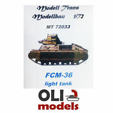 1/72 French FCM-36 Light Infantry Tank RESIN KIT - Modell Trans 72033
