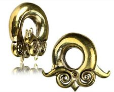 ORNATE 00G TRIBAL GANESH BRASS EAR WEIGHTS PLUGS TUNNELS STRETCH GAUGE PLUG HOOP