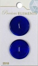 "Precious Elements - 1"" (25mm) Two Hole Stone Round Buttons - Cat's Eye Blue"
