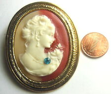 "Vintage Gold-tone Figural Large Cameo Brooch Pin Retro 2"" With Rhinestone"