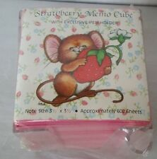 Vintage Strawberry Mouse Pink Paper Memo Cube Pad Clear Acrylic Pen Holder