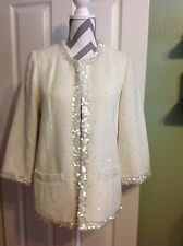 NWT! Linea by Louis Dell'Olio Evening w/Sequins Cream Bouclé Jacket Coat ~Size M