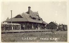 PRINCE ALBERT SASKATCHEWAN CNR DEPOT TRAIN AT STATION c1910s RPPC Photo Postcard