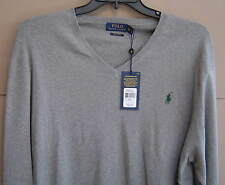 NWT $98 POLO RALPH LAUREN Mens XXL PIMA COTTON V-NECK SWEATER Fawn Grey 0106361