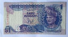 Malaysia Jaffar 6th sr. banknote $1 prefix CJ2459674 no silver thread very nice