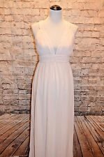Modcloth Sonia V-neck Maxi Tfnc NWT S pale pink pleatst tie back criss cross