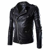 Cool Mens Motorcycle Jacket Slim Fit Pu Leather Biker PUNK Outerwear Tops Black