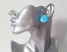 "Big plain blue flat plastic CLIP ON button style stud earrings retro  1""  * NEW*"