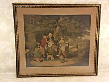 """Ant """"Sunday Morning""""  A Cottage Family Going to Church 1795 Engraving in Frame"""