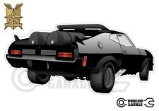 Mad Max Black Interceptor movie car with tanks - XX Large Sticker - Rear View