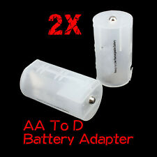 2x AA to D Recharge Battery Adapter Converter Case Cover