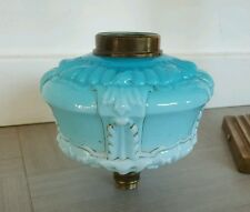 Original Antique Victorian Turquoise Blue Glass Oil Lamp Font 22mm undermount