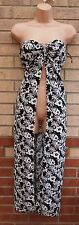 BANDEAU WHITE BLACK FLORAL  LONG SLIT CUT FRONT BEACH TUNIC LONG MAXI DRESS M L
