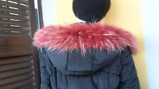 Red real fox fur collar scarf wrap trim strip shawl for hood jacket parka coat