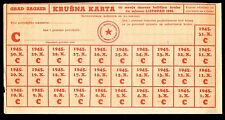 YUGOSLAVIA - PARTISAN COUPONS FOR BREAD FOR MONTH OCTOBER 1945. COMPLETE TOKEN