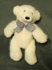 "APPLAUSE WHITE TEDDY BEAR WITH CHECKER BLACK/WHITE BOW 9"" STUFFED ANIMAL PLUSH"