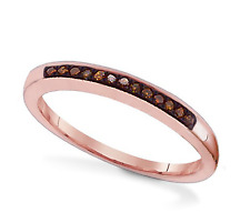 100% 10K Rose Gold & Red Diamond Ring Band .06ct - Stackable - Anniversary Band