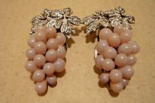 """Vintage Shoe, Dress or Scarf Clips-Grape Clusters-Pave Rhinestone Leaves-2"""""""