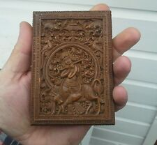 EXCEPTIONAL ANTIQUE ANGLO INDIAN SANDALWOOD MYSORE CARVED CARD CASE  19TH C