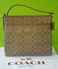 New COACH Signature PVC File Crossbody Bag F34938 in Khaki/Saddle Brown $225.