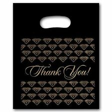 "200 Large Black Thank You Merchandise Plastic Retail Bags 12"" x 15"" Tall"