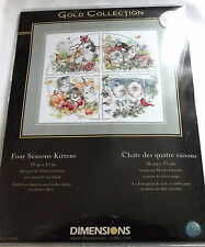 Four Seasons Kittens Counted Cross Stitch Kit, Dimensions, Gold Collection, Cats