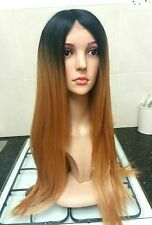 100% human hair blend wig, Ombre, Golden Brown, straight, long, dark roots
