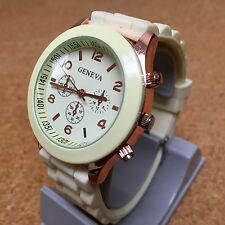 Geneva Men Lady Rose Gold Tone Green Face Analog Quartz Watch Hour~New Battery