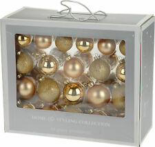 Box of 42 Real Glass Gold Christmas Tree Decorations Glass Christmas Baubles