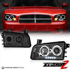 2006-2010 Dodge Charger SRT SE SXT DAYTONA Dark Smoke LED Halo Headlights Lamps