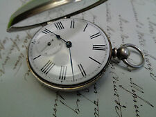 SILVER OPEN FACE POCKET WATCH WORKING