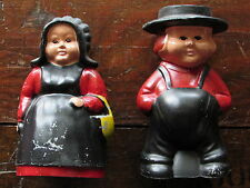 VINTAGE PAINTED CAST METAL AMISH COUPLE FIGURAL COIN BANK-PIGGY BANK-BANKS