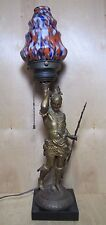 Antique Indian Warrior Figural Lamp Deco Era Ornate Cast Metal End of Day Shade