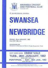 SWANSEA v NEWBRIDGE 22 Jan 1982 RUGBY PROGRAMME