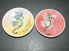 2 JO LESTER ISLE OF WIGHT IOW SEAHORSE STUDIO POTTERY DISHES