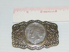 """SILVER NICKLE BELL1922 PEACE DOLLAR $1 BELT BUCKLE NO RESERVE SHINY 3"""" X 2"""""""