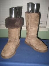 WOMEN'S UGG AUSTRALIA LEATHER TALL #5815 CHOCOLATE BROWN BOOTS US W7