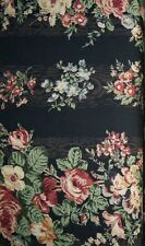 Quilt Gate Mary Rose Collection QUILT Fabric -Floral Stripe on Black