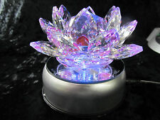 "Large Vantage  Inspired 5"" Multicolor Crystal Lotus Flower + LED Light Bases AC"