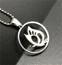 Fashion half butterfly Silver 316L Stainless Steel Titanium Pendant Necklace
