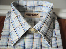 "New & Unworn original 1970's Mentor Blue Check l/sleeve shirt ~ 16"" -42-44"""