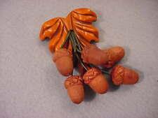 Vintage Carved Bakelite & Wood  Acorn Pin