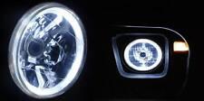 "White Halo H4 7"" Round Headlights Angel Eye Semi Sealed Beam Universal Crystal"