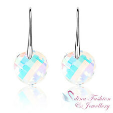 18K White Gold Plated Genuine Swarovski Crystal Round Rainbow Dangle Earrings